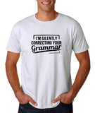 "I'm silently correcting your grammar Black mens T Shirt-T Shirts-Gildan-White-S To Fit Chest 36-38"" (91-96cm)-Daataadirect"