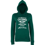 "I'm Tattooed Mom Much Cooler Women Hoodies White-Hoodies-AWD-Bottle Green-XS UK 8 Euro 32 Bust 30""-Daataadirect"