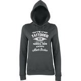 "I'm Tattooed Mom Much Cooler Women Hoodies White-Hoodies-AWD-Charcoal-XS UK 8 Euro 32 Bust 30""-Daataadirect"