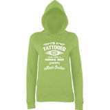 "I'm Tattooed Mom Much Cooler Women Hoodies White-Hoodies-AWD-Lime Green-XS UK 8 Euro 32 Bust 30""-Daataadirect"