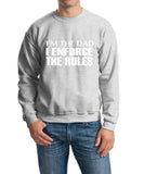 "I'm The Dad I Enforce The Rules Men Sweat Shirts White-SweatShirts-Gildan-Ash-S To Fit Chest 36-38"" (91-96cm)-Daataadirect"