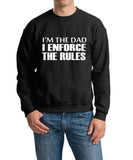 "I'm The Dad I Enforce The Rules Men Sweat Shirts White-SweatShirts-Gildan-Black-M To Fit Chest 38-40"" (96-101cm)-Daataadirect"
