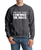 "I'm The Dad I Enforce The Rules Men Sweat Shirts White-SweatShirts-Gildan-Charcoal-S To Fit Chest 36-38"" (91-96cm)-Daataadirect"