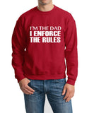 "I'm The Dad I Enforce The Rules Men Sweat Shirts White-SweatShirts-Gildan-Cherry Red-S To Fit Chest 36-38"" (91-96cm)-Daataadirect"