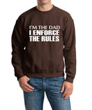 "I'm The Dad I Enforce The Rules Men Sweat Shirts White-SweatShirts-Gildan-Dark Chocolate-S To Fit Chest 36-38"" (91-96cm)-Daataadirect"