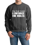 "I'm The Dad I Enforce The Rules Men Sweat Shirts White-SweatShirts-Gildan-Dark Heather-S To Fit Chest 36-38"" (91-96cm)-Daataadirect"