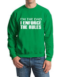 "I'm The Dad I Enforce The Rules Men Sweat Shirts White-SweatShirts-Gildan-Irish Green-S To Fit Chest 36-38"" (91-96cm)-Daataadirect"