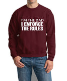 "I'm The Dad I Enforce The Rules Men Sweat Shirts White-SweatShirts-Gildan-Maroon-S To Fit Chest 36-38"" (91-96cm)-Daataadirect"