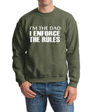"I'm The Dad I Enforce The Rules Men Sweat Shirts White-SweatShirts-Gildan-Military Green-S To Fit Chest 36-38"" (91-96cm)-Daataadirect"