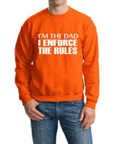 "I'm The Dad I Enforce The Rules Men Sweat Shirts White-SweatShirts-Gildan-Orange-S To Fit Chest 36-38"" (91-96cm)-Daataadirect"
