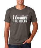 "I'm the dad I enforce the rules Mens T Shirts White-T Shirts-Gildan-Charcoal-S To Fit Chest 36-38"" (91-96cm)-Daataadirect"