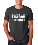 "I'm the dad I enforce the rules Mens T Shirts White-T Shirts-Gildan-Dk Heather-S To Fit Chest 36-38"" (91-96cm)-Daataadirect"