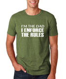 "I'm the dad I enforce the rules Mens T Shirts White-T Shirts-Gildan-Heather Military Green-S To Fit Chest 36-38"" (91-96cm)-Daataadirect"
