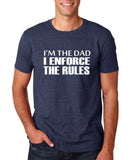 "I'm the dad I enforce the rules Mens T Shirts White-T Shirts-Gildan-Heather Navy-S To Fit Chest 36-38"" (91-96cm)-Daataadirect"