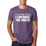 "I'm the dad I enforce the rules Mens T Shirts White-T Shirts-Gildan-Heather Purple-S To Fit Chest 36-38"" (91-96cm)-Daataadirect"