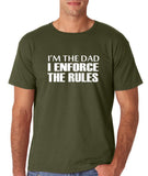 "I'm the dad I enforce the rules Mens T Shirts White-T Shirts-Gildan-Military Green-S To Fit Chest 36-38"" (91-96cm)-Daataadirect"