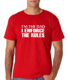 "I'm the dad I enforce the rules Mens T Shirts White-T Shirts-Gildan-Red-S To Fit Chest 36-38"" (91-96cm)-Daataadirect"