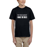 I'm the oldest I make the rules Kids T SHirts White-T Shirts-Gildan-Black-YXS (3-5 Year)-Daataadirect