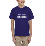 I'm the oldest I make the rules Kids T SHirts White-Gildan-Daataadirect.co.uk