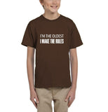 I'm the oldest I make the rules Kids T SHirts White-T Shirts-Gildan-DK Chocolate-YXS (3-5 Year)-Daataadirect