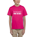 I'm the oldest I make the rules Kids T SHirts White-T Shirts-Gildan-Helconia-YXS (3-5 Year)-Daataadirect