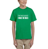 I'm the oldest I make the rules Kids T SHirts White-T Shirts-Gildan-Irish Green-YXS (3-5 Year)-Daataadirect