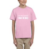 I'm the oldest I make the rules Kids T SHirts White-T Shirts-Gildan-Light Pink-YXS (3-5 Year)-Daataadirect