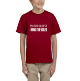 I'm the oldest I make the rules Kids T SHirts White-T Shirts-Gildan-Red-YXS (3-5 Year)-Daataadirect