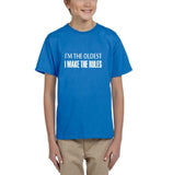 I'm the oldest I make the rules Kids T SHirts White-T Shirts-Gildan-Sapphire-YXS (3-5 Year)-Daataadirect