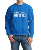 I'm The Oldest I Make The Rules Men Sweat Shirts White-Gildan-Daataadirect.co.uk