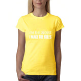 "I'm the oldest I make the rules Womens T Shirts White-T Shirts-Gildan-Daisy-S UK 10 Euro 34 Bust 32""-Daataadirect"
