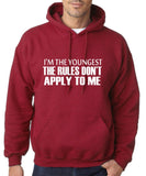 "I'm The Youngest The Rules Don,t Apply To Me Men Hoodies White-Hoodies-Gildan-Antique Cherry-S To Fit Chest 36-38"" (91-96cm)-Daataadirect"