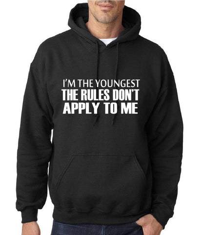 "I'm The Youngest The Rules Don,t Apply To Me Men Hoodies White-Hoodies-Gildan-Black-M To Fit Chest 38-40"" (96-101cm)-Daataadirect"