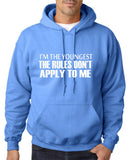 "I'm The Youngest The Rules Don,t Apply To Me Men Hoodies White-Hoodies-Gildan-Carolina Blue-S To Fit Chest 36-38"" (91-96cm)-Daataadirect"