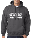"I'm The Youngest The Rules Don,t Apply To Me Men Hoodies White-Hoodies-Gildan-Charcoal-S To Fit Chest 36-38"" (91-96cm)-Daataadirect"