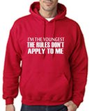"I'm The Youngest The Rules Don,t Apply To Me Men Hoodies White-Hoodies-Gildan-Cherry Red-S To Fit Chest 36-38"" (91-96cm)-Daataadirect"