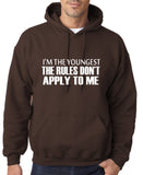 "I'm The Youngest The Rules Don,t Apply To Me Men Hoodies White-Hoodies-Gildan-Dk Chocolate-S To Fit Chest 36-38"" (91-96cm)-Daataadirect"