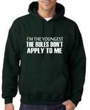 "I'm The Youngest The Rules Don,t Apply To Me Men Hoodies White-Hoodies-Gildan-Forest Green-S To Fit Chest 36-38"" (91-96cm)-Daataadirect"
