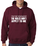 "I'm The Youngest The Rules Don,t Apply To Me Men Hoodies White-Hoodies-Gildan-Garmet-S To Fit Chest 36-38"" (91-96cm)-Daataadirect"