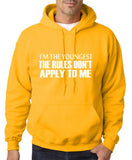 "I'm The Youngest The Rules Don,t Apply To Me Men Hoodies White-Hoodies-Gildan-Gold-S To Fit Chest 36-38"" (91-96cm)-Daataadirect"