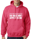 "I'm The Youngest The Rules Don,t Apply To Me Men Hoodies White-Hoodies-Gildan-Heliconia-S To Fit Chest 36-38"" (91-96cm)-Daataadirect"