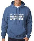 "I'm The Youngest The Rules Don,t Apply To Me Men Hoodies White-Hoodies-Gildan-Indigo Blue-S To Fit Chest 36-38"" (91-96cm)-Daataadirect"