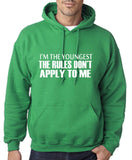 "I'm The Youngest The Rules Don,t Apply To Me Men Hoodies White-Hoodies-Gildan-Irish Green-S To Fit Chest 36-38"" (91-96cm)-Daataadirect"