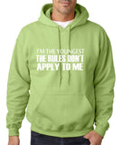 "I'm The Youngest The Rules Don,t Apply To Me Men Hoodies White-Hoodies-Gildan-Kiwi-S To Fit Chest 36-38"" (91-96cm)-Daataadirect"