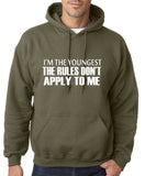 "I'm The Youngest The Rules Don,t Apply To Me Men Hoodies White-Hoodies-Gildan-Military Green-S To Fit Chest 36-38"" (91-96cm)-Daataadirect"