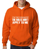 "I'm The Youngest The Rules Don,t Apply To Me Men Hoodies White-Hoodies-Gildan-Orange-S To Fit Chest 36-38"" (91-96cm)-Daataadirect"