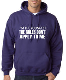 "I'm The Youngest The Rules Don,t Apply To Me Men Hoodies White-Hoodies-Gildan-Purple-S To Fit Chest 36-38"" (91-96cm)-Daataadirect"