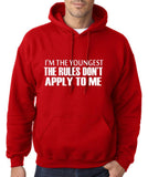 "I'm The Youngest The Rules Don,t Apply To Me Men Hoodies White-Hoodies-Gildan-Red-S To Fit Chest 36-38"" (91-96cm)-Daataadirect"