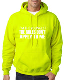 "I'm The Youngest The Rules Don,t Apply To Me Men Hoodies White-Hoodies-Gildan-Safety Green-S To Fit Chest 36-38"" (91-96cm)-Daataadirect"