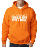 "I'm The Youngest The Rules Don,t Apply To Me Men Hoodies White-Hoodies-Gildan-Safety Orange-S To Fit Chest 36-38"" (91-96cm)-Daataadirect"